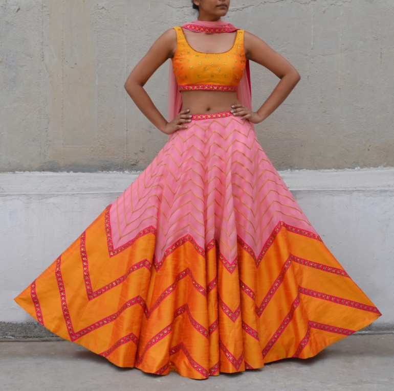 Pink and orange two tone zig zag line lehenga - Priyal Prakash Summer 2016 collection
