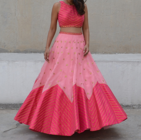Two tone pink lehenga with zig zag lines - Priyal Prakash Summer 2016 collection